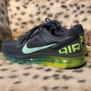 Gray women's air maxes w/ teal and green bottoms